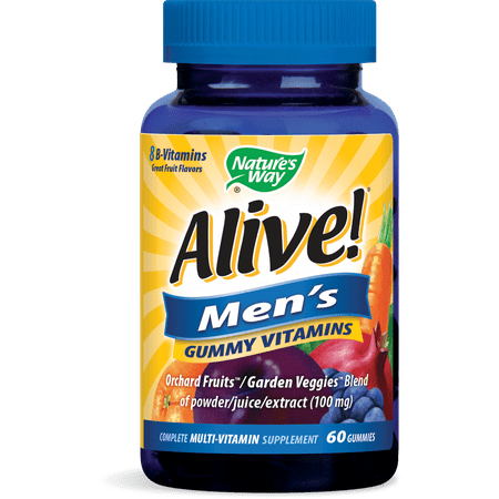 Alive! Mens Gummy Vitamins Daily Multivitamin Supplements 60 Ct