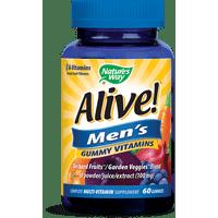 Alive! Men's Gummy Multivitamin Supplement with Orchard Fruits & Garden Veggies Blend, 60 Gummies