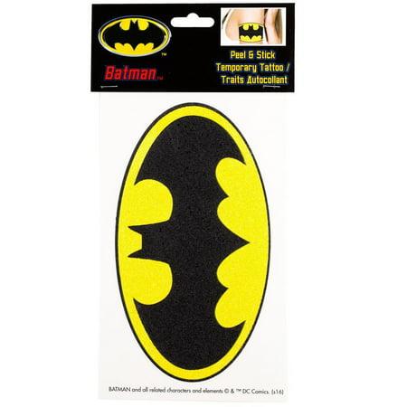 Batman Glittery Logo Peel and Stick Temporary Arm Tattoo - Batman Logo Tattoo
