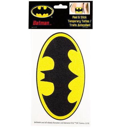 Batman Glittery Logo Peel and Stick Temporary Arm Tattoo (Batman Makeup)