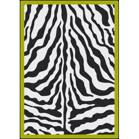 Milliken Black & White Area Rugs - Contemporary Citrus Bordered Exotic Zebra Skin Rug