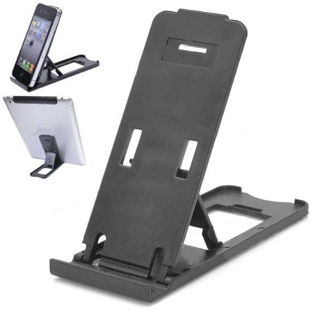 Black Compact Portable Fold-up Stand Holder Travel Cradle Compatible With iPhone 7 Plus 6S 6 Plus X XS Max XR 8 PLUS 5S, iPad Mini 2 4 Air 2 Pro 10.5 12.9 9.7, 3, Ipod Nano 7th Gen