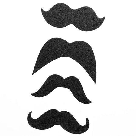 Black Glitter Mustache Stickers