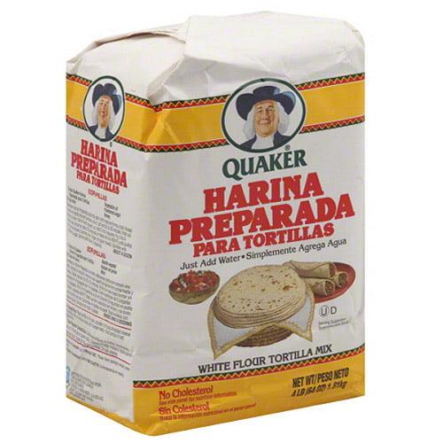 Quaker Harina Preparada Para Tortillas White Flour Tortilla Mix, 64 oz, (Pack of 8)
