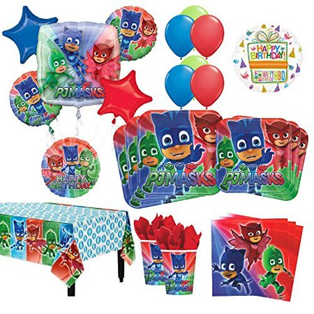 PJ Masks Birthday Party Supplies 16 Guest Kit and Balloon Bouquet Decorations 95pc - Mask Party