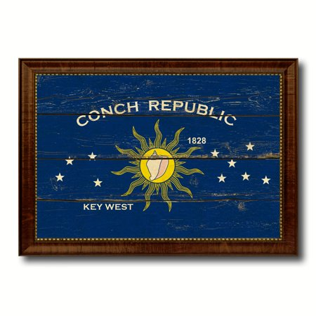 Conch Republic Key West City Florida State Flag Vintage Canvas Print Brown Picture Frame Home Decor Wall Art Gifts - 19
