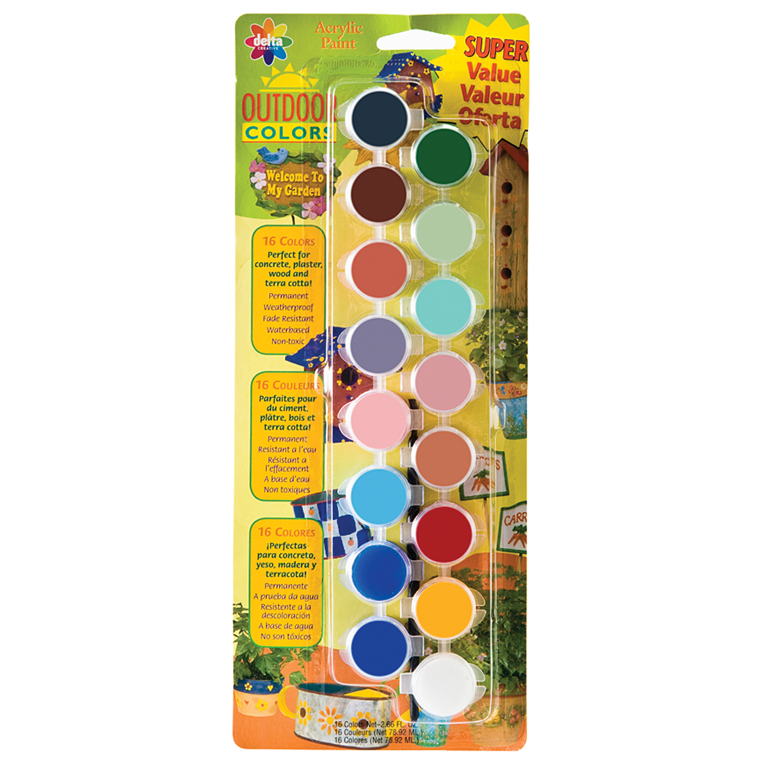 Delta Creative Paint Pots Set With Paint And Brush For Outdoors, 027050056  (16 Colors