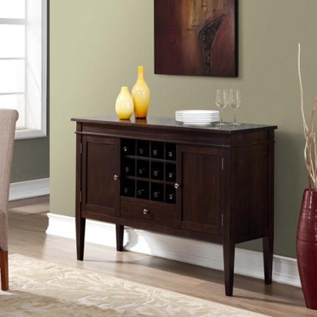 WyndenHall  Sterling Solid Wood 54 inch Wide Contemporary Sideboard Buffet Credenza and Wine Rack in Dark Tobacco Brown