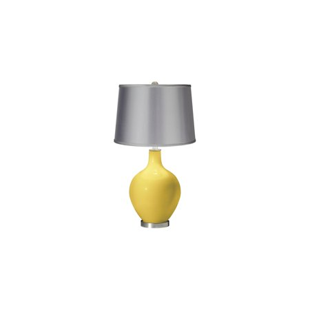Color + Plus Daffodil - Satin Light Gray Shade Ovo Table Lamp