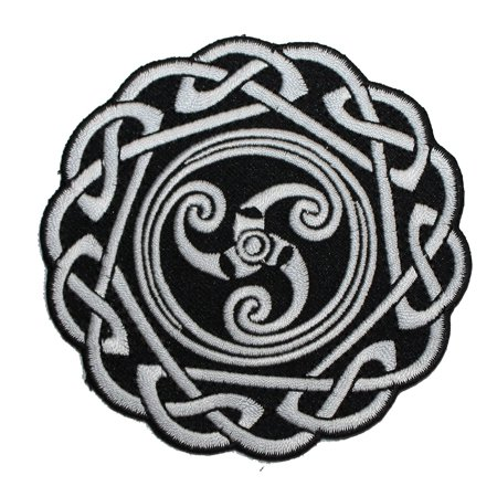(Celtic Art Round Knot PATCH - Officially Licensed Original Artwork, 3.25' x 3.25', Iron-On / Sew-On Embroidered Patch)