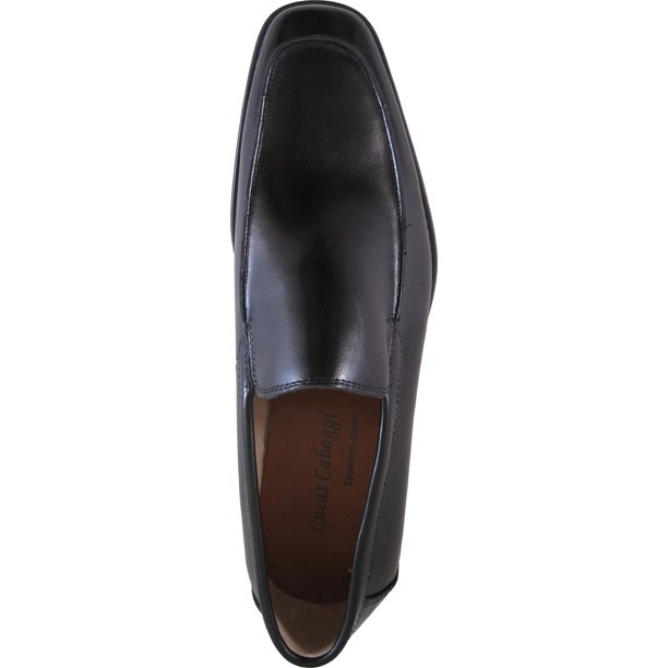 Lucas Cabaggi Men Dress Shoe Style 519617 Classic Loafer with Square Moc Toe and Leather Upper Lether lining