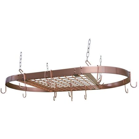 Oval Overhead Pot Rack - Copper