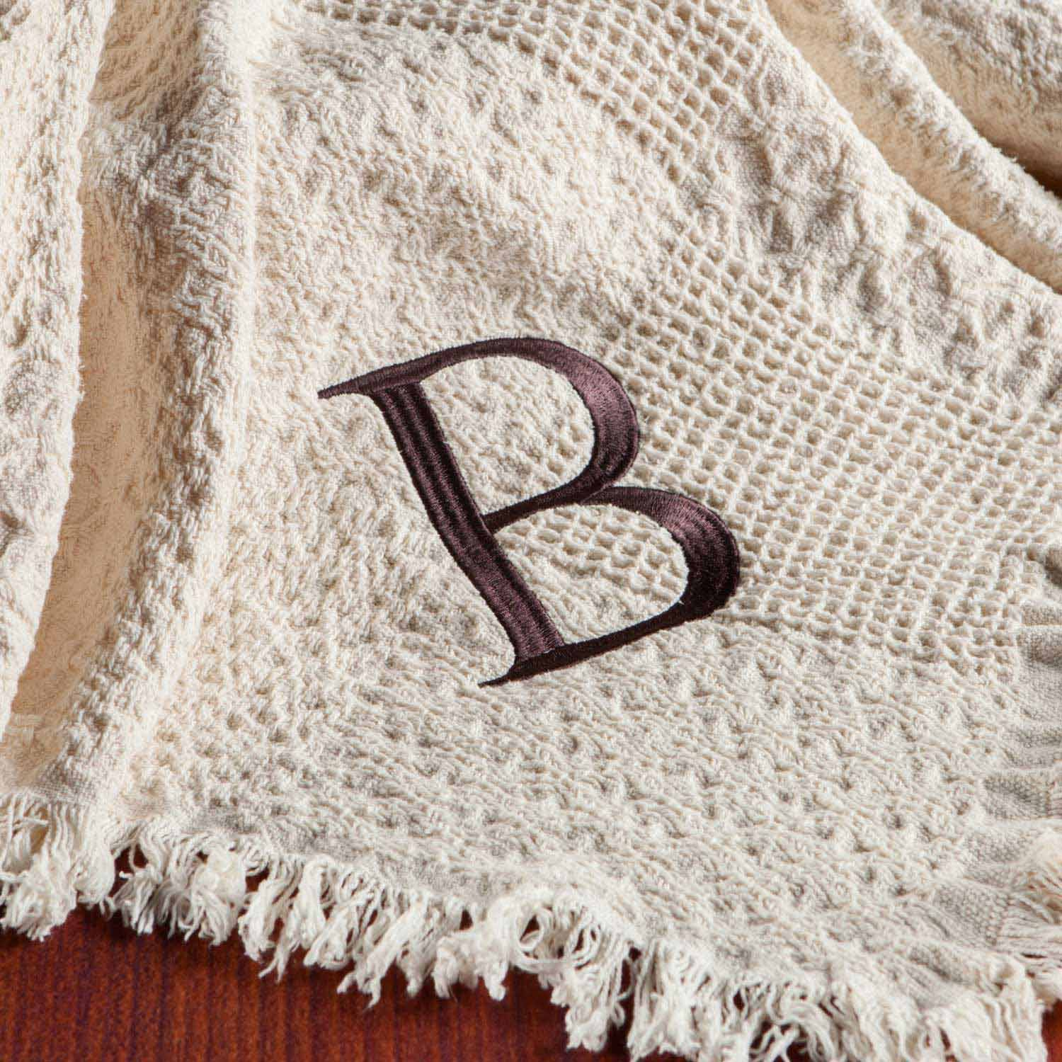 Personalized Woven Throw, Single Initial