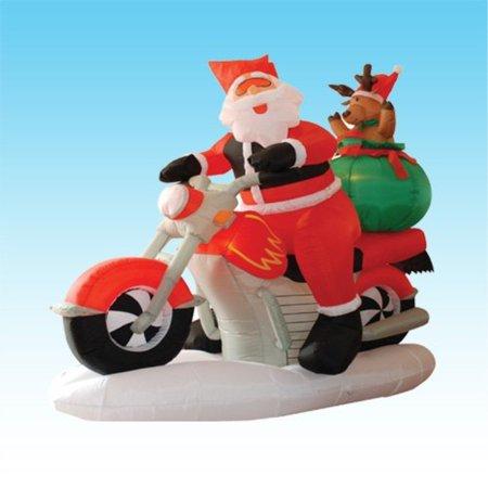 6 Foot Long Inflatable Santa Claus & Reindeer Riding Motorcycle](Santa Reindeer Inflatable)