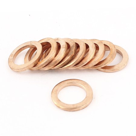 Unique Bargains 10pcs 12mm Inner Dia Copper Flat Washer Ring Line Seal Fitting Fastener