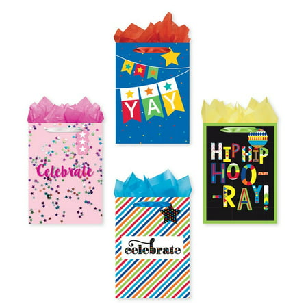Bundle Of 4 Jumbo Sized Party Gift Bags Celebrate Birthday With Tags And