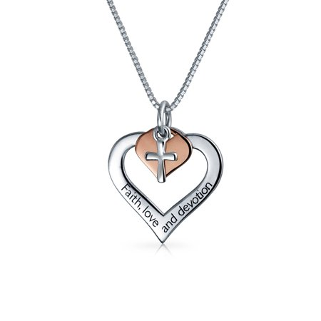 Heart Cross Word Mantra Faith Love Devotion For Pendant Necklace Women For Teen Rose Gold Plated 925 Sterling Silver Faith Pendant Necklace