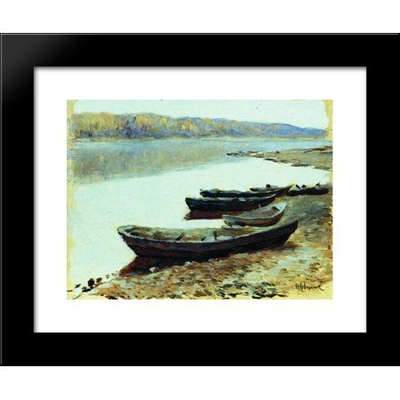 Landscape on Volga. Boats by the Riverbank. 20x24 Framed Art Print by Isaac Levitan - Love Boat Isaac
