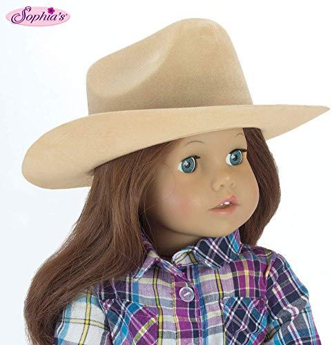18 Inch White Velvet Cowgirl Doll Hat w// Decorative Rope on Brim Sophias White Cowgirl Doll Hat for The 18 Inch Horse Riding American Girl /& More