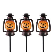 "Set of 3 Orange and Black Flickering Halloween Pumpkin Lantern Pathway Markers 16.75"""