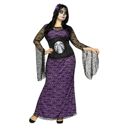 Halloween Parties In La 2019 (La Muerte Womens Day of the Dead Adult Costume 2X- 22W-24W Purple)