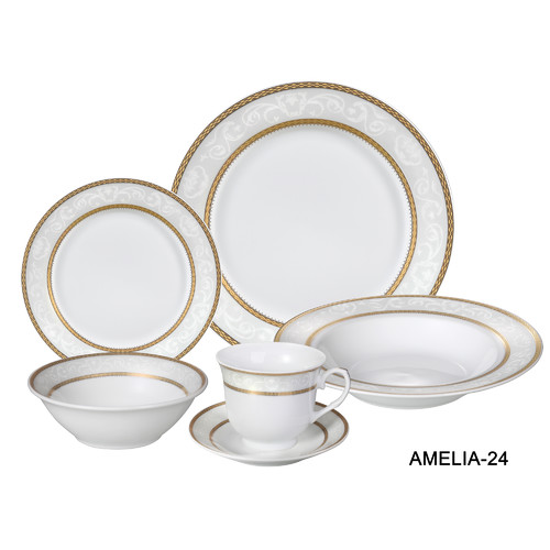 Lorren Home Trends Amelia 24 Piece Porcelain Dinnerware Set Service for 4  sc 1 st  Walmart.com & Lorren Home Trends Amelia 24 Piece Porcelain Dinnerware Set Service ...