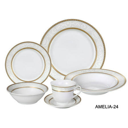 Lorren Home Trends Amelia 24 Piece Porcelain Dinnerware Set, Service for 4 ()