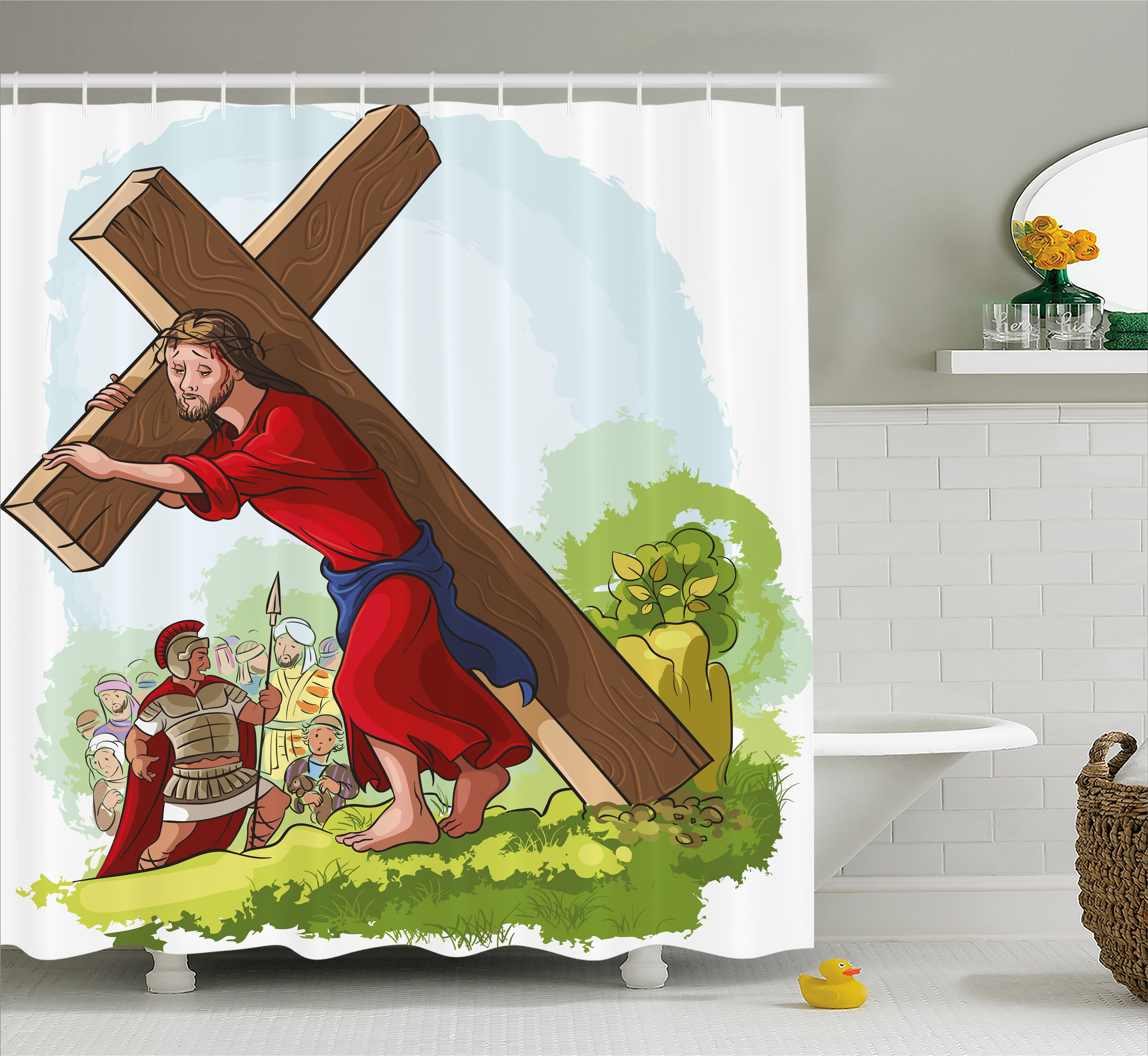 Religious Shower Curtain, Cartoon Style Carrying the Cros...