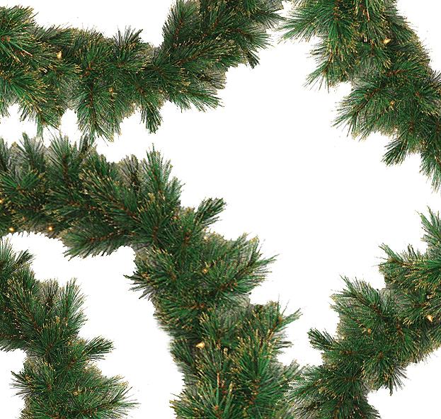 "9' x 12"" Pre-Lit Tattinger Long Needle Pine Artificial Christmas Garland - Clear"