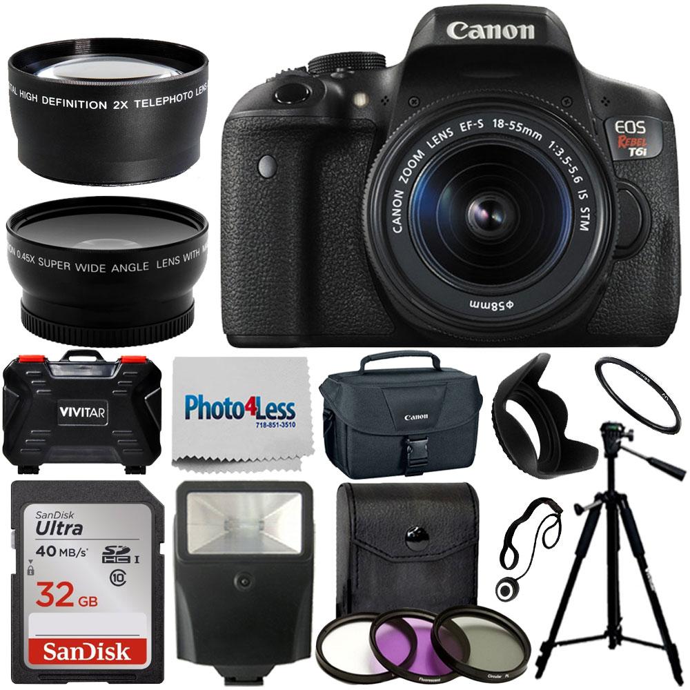 Canon EOS Rebel T6i SLR Camera + 18-55mm STM Lens + 32GB Accessory Top Flash Kit