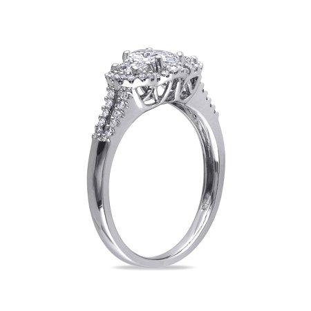 IGI Certified 1.00 Carat (ctw Color G-H Clarity I1-I2) Three Stone Diamond Engagement Ring 14K White Gold - image 2 de 5