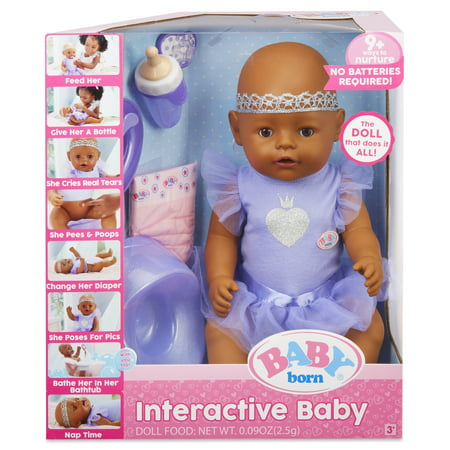 BABY born Interactive Baby Doll- Dark Brown Eyes