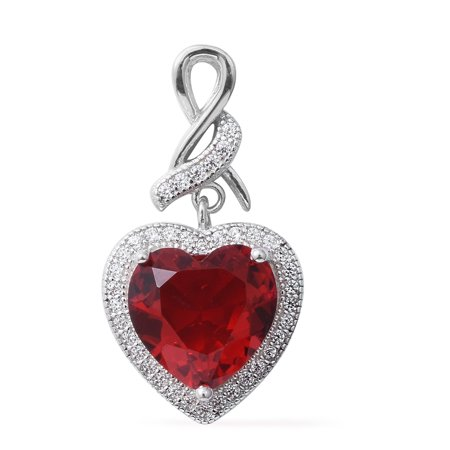 925 Sterling Silver Cubic Zircon Red Cubic Zirconia CZ Love Heart Valentines Pendant For Women Cttw 3.2