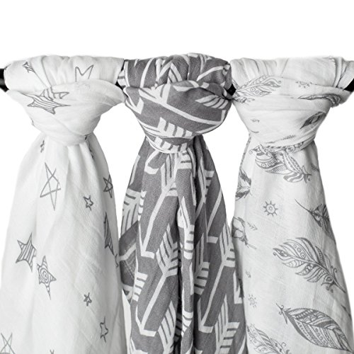 """Kids N' Such Muslin Swaddle Blankets """"Wanderer Set"""" Large 47x47 inch 