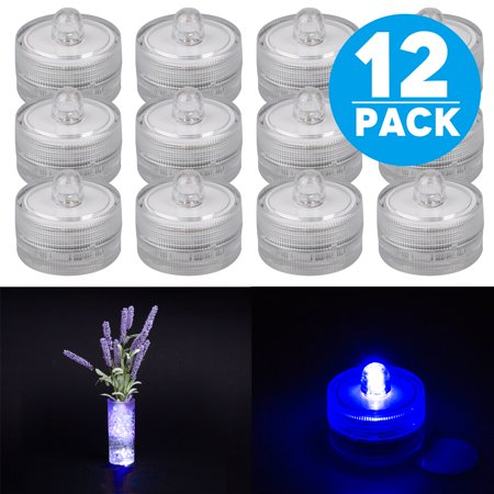 Royal Blue Wedding Centerpieces (TSV 12pcs Waterproof round battery powered many colors flower mini led candles lights for vases centerpiece Wedding Party decoration)