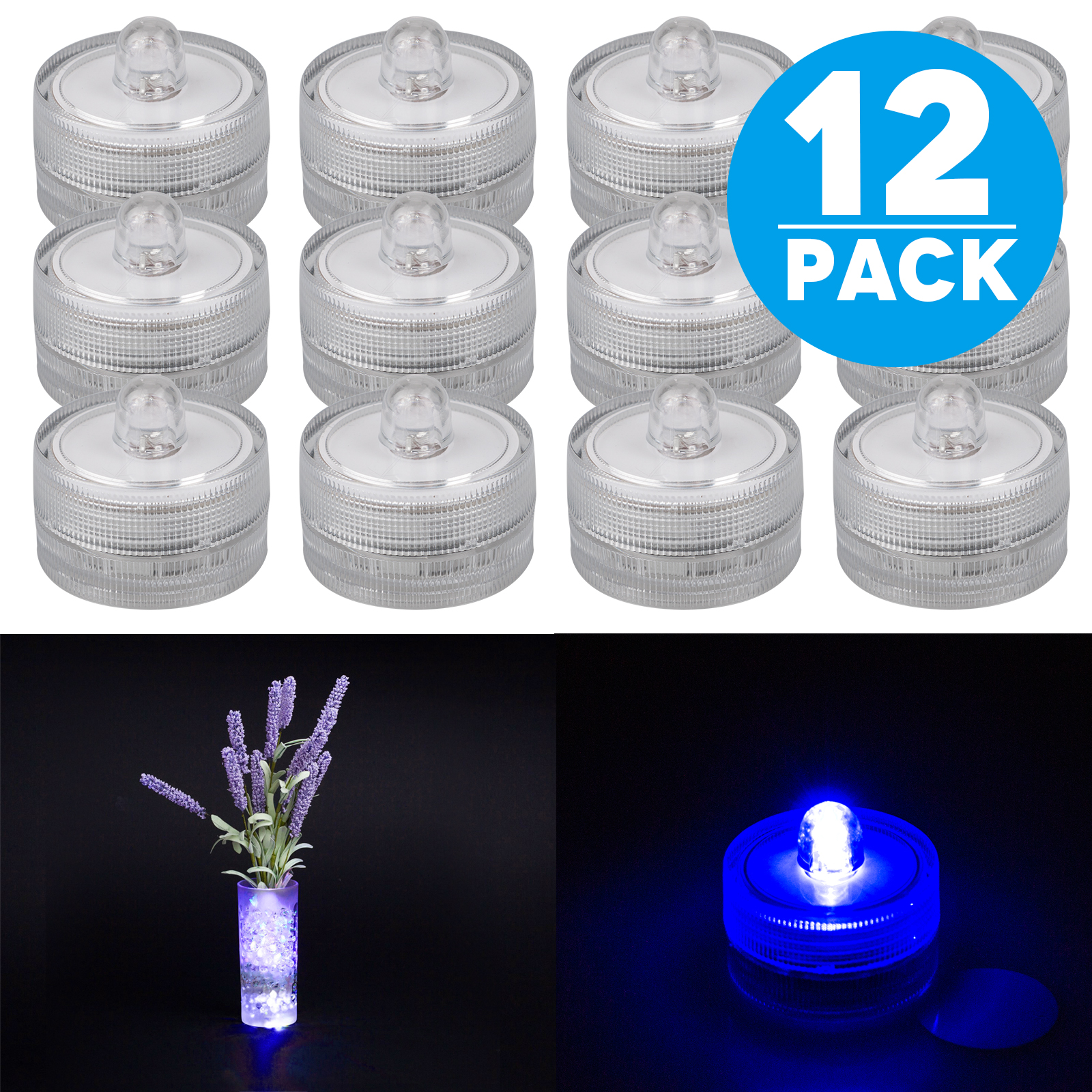 TSV 12pcs Waterproof round battery powered many colors flower mini led candles lights for vases centerpiece Wedding Party decoration (Blue)