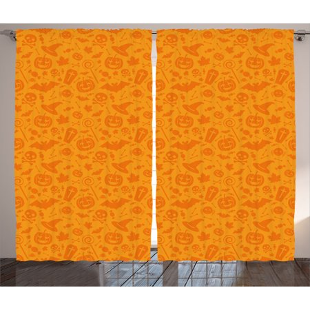 Halloween Decorations Curtains 2 Panels Set, Monochrome Design with Traditional Halloween Themed Various Objects Day, Window Drapes for Living Room Bedroom, 108W X 84L Inches, Orange, by Ambesonne