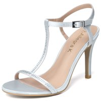 06b51bb3f2d447 Unique Bargains Women s Rhinestone Decor T-Strap Stiletto Sandals