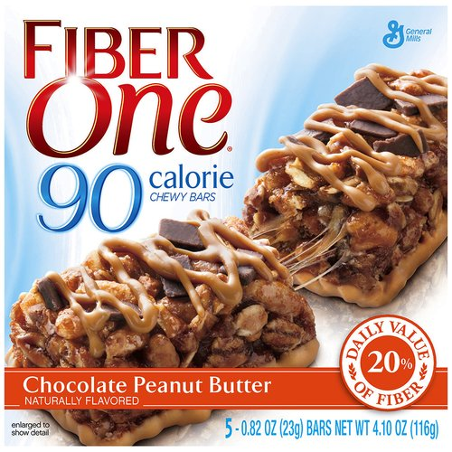 Fiber One® 90 Calorie Chocolate Peanut Butter Chewy Bars 5-0.82 oz. Wrappers