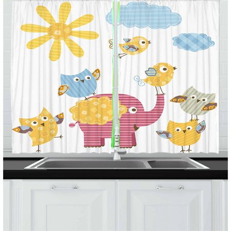 Nursery Curtains 2 Panels Set Hy Animals Colorful Design Sun Clouds Cute Elephant Birds And Owls