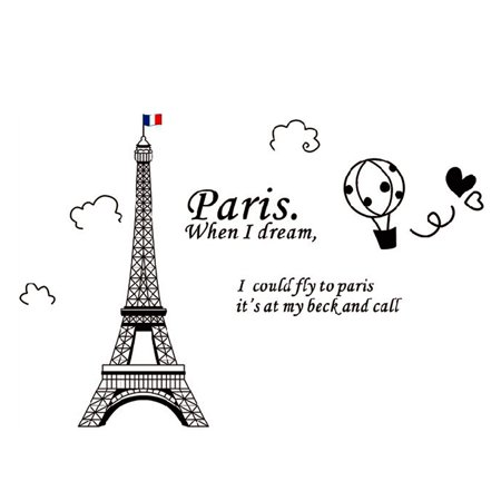 Home Decor amovible Designable PVC Noir DIY Sticker mural Motif Tour Eiffel Blanc 60 x 90 cm - image 8 de 8