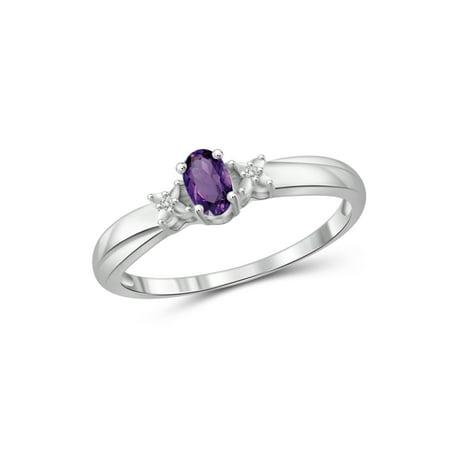 0.23 Carat T.G.W. Amethyst Gemstone and White Diamond Accent -