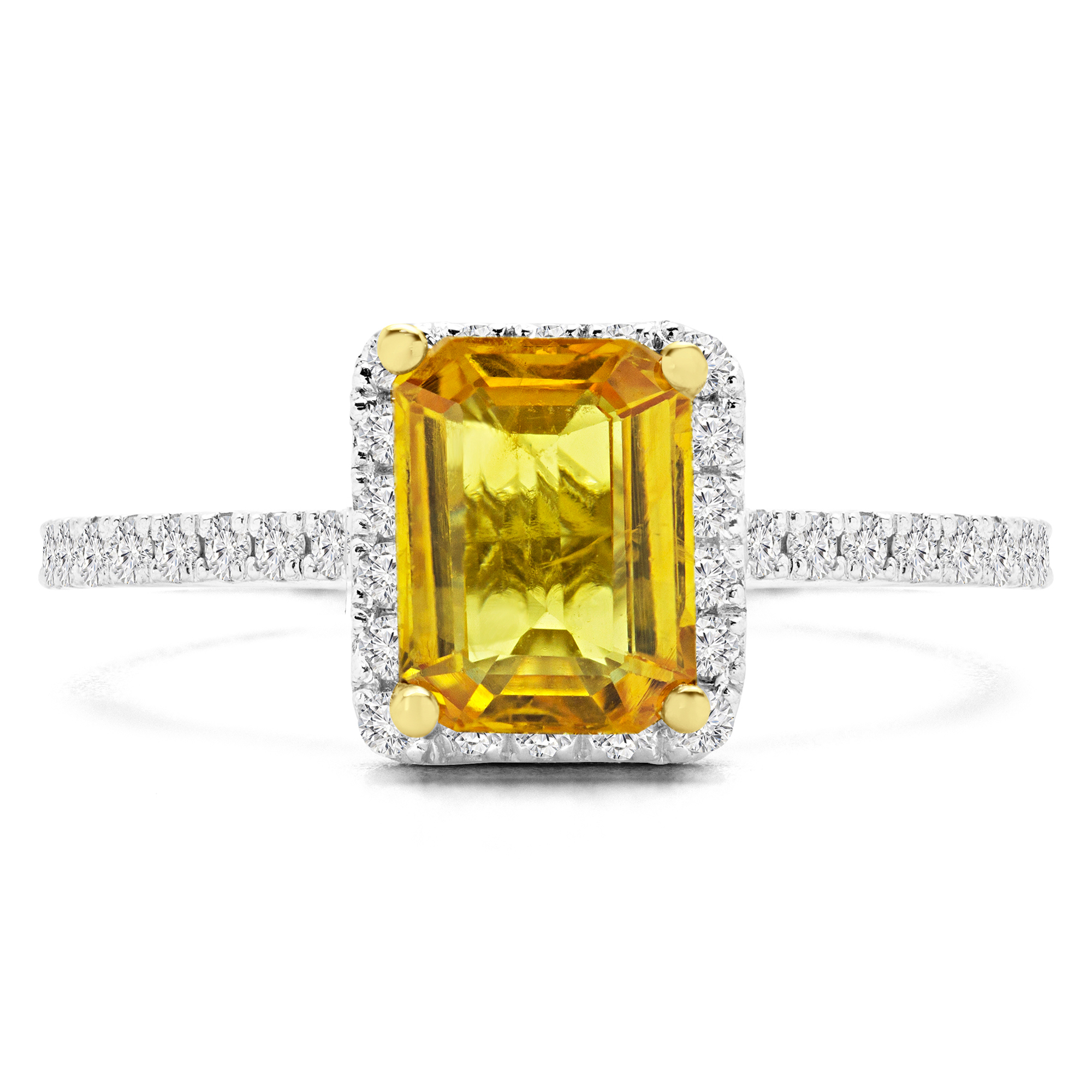 2 1/2 CTW Emerald Yellow Sapphire Halo Cocktail Ring in 14K White Gold (MD170170) - image 1 de 2