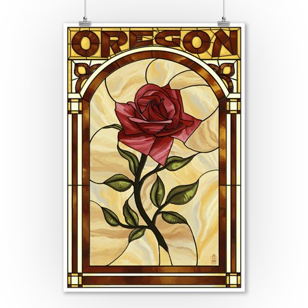 Oregon - Rose Stained Glass - Lantern Press Poster (9x12 Art Print, Wall Decor Travel Poster)