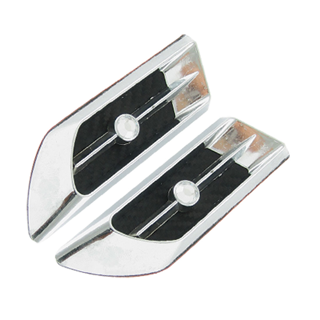 Pair Auto Car Silver Tone Rhinestone Decor 3D Sticker