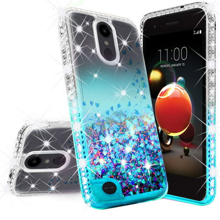 Rebel Floating - LG Rebel 4 LTE/Risio 3/Aristo 2 Plus/Rebel 3 Case w/[Tempered Glass Screen Protector], Glitter Liquid Quicksand Waterfall Floating Sparkle Shiny Bling Diamond Clear Girls Cute Case - Aqua/Clear