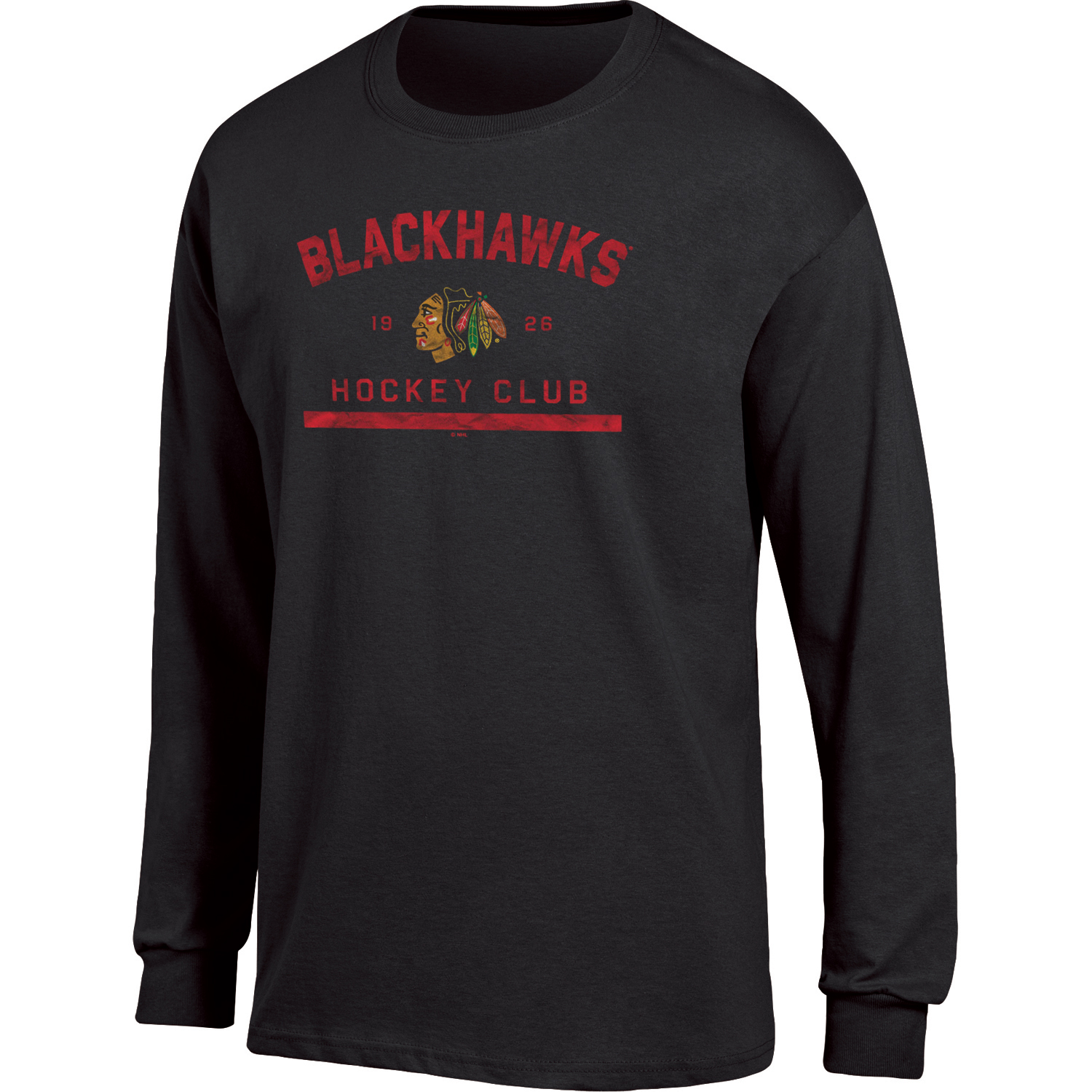 Men's Black Chicago Blackhawks Spine Hit Long Sleeve T-Shirt