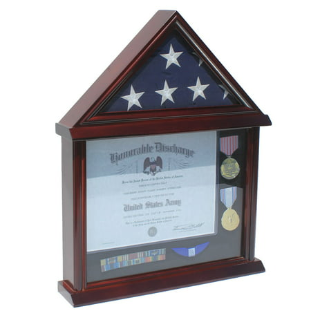Military Shadow Box 3' X 5' Flag Display Case (NOT for Burial or Funeral size Flag)-Solid Wood, Mahogany Finish (FC11V-MA)