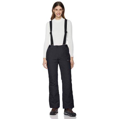 5Oaks Women's Basic Ski Snow Bib Pant with Adjustable Suspender Black X-Large