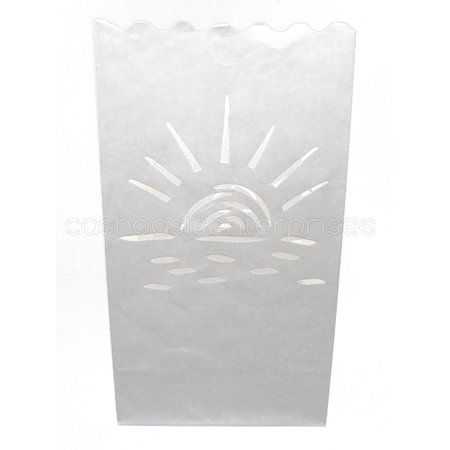 CleverDelights White Luminary Bags - 20 Count - Sunset Design